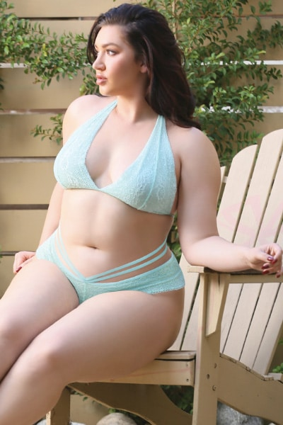 Plus size bralette and caged panty - Shona two piece set