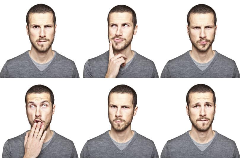 egy férfi hatféle arca