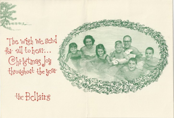 Family photo on inside of 1955 Christmas Card.