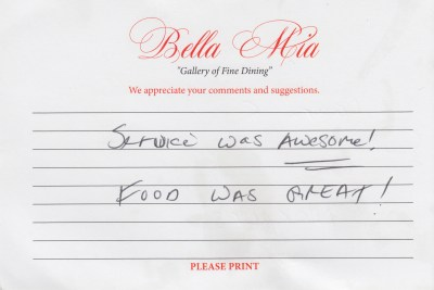 Bella Mia Fine Dining Compliment Card 19
