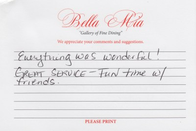 Bella Mia Fine Dining Compliment Card 22