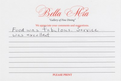 Bella Mia Fine Dining Compliment Card 27