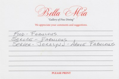 Bella Mia Fine Dining Compliment Card 28