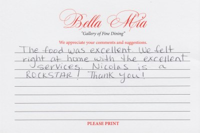 Bella Mia Fine Dining Compliment Card 3
