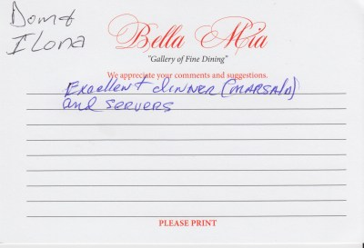 Bella Mia Fine Dining Compliment Card 36