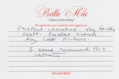 Bella Mia Fine Dining Compliment Card 4