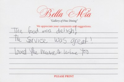 Bella Mia Fine Dining Compliment Card 5