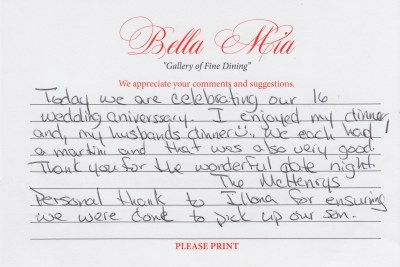 Bella Mia Fine Dining Compliment Card 6
