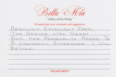 Bella Mia Fine Dining Compliment Card 8