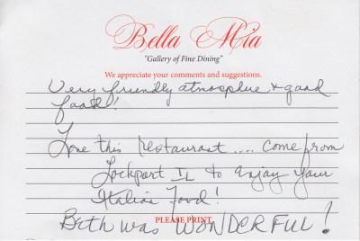 Bella Mia Fine Dining Compliments 2