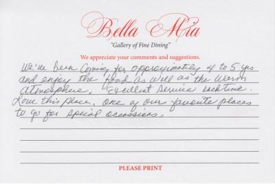 Bella Mia Fine Dining Compliments 3