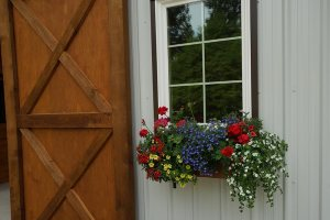 Front door of new barn at Bellamy Brook Stables, Maple Ridge BC