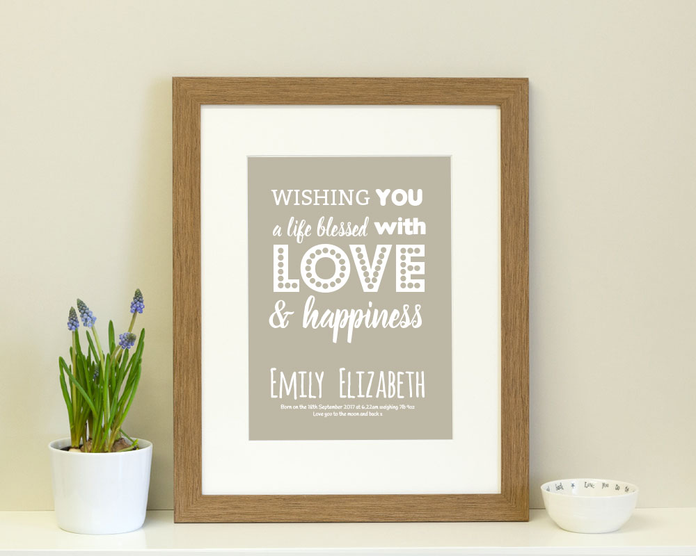 personalised typography print ideal as a new born gift or christening gift for a boy or girl