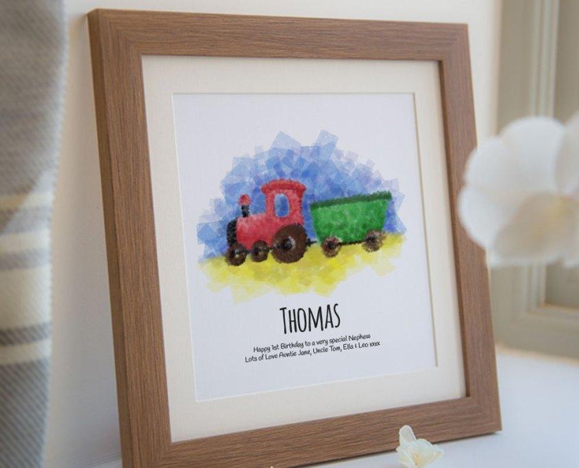 Train personalised framed print