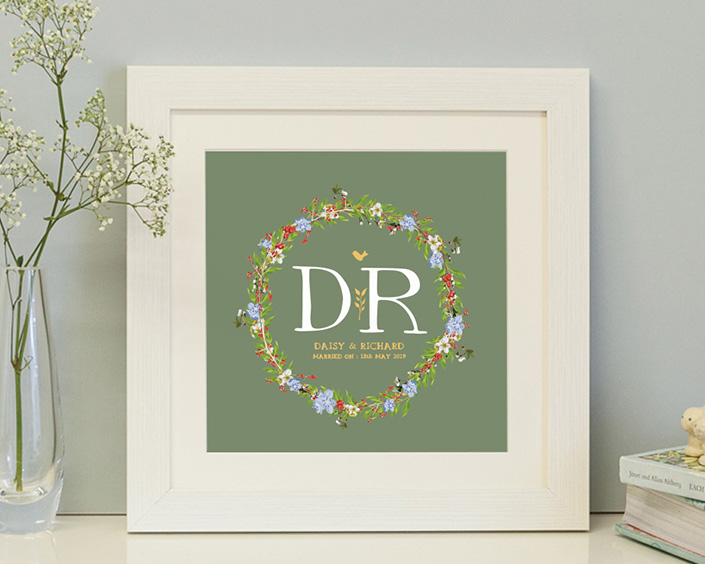 square framed personalised print with a beautiful floral garland with a green background ideal for weddings, new borns and christening gifts