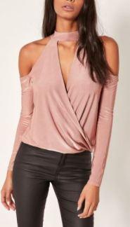 choker-cold-shoulder-wrap-top-affordable-clothing