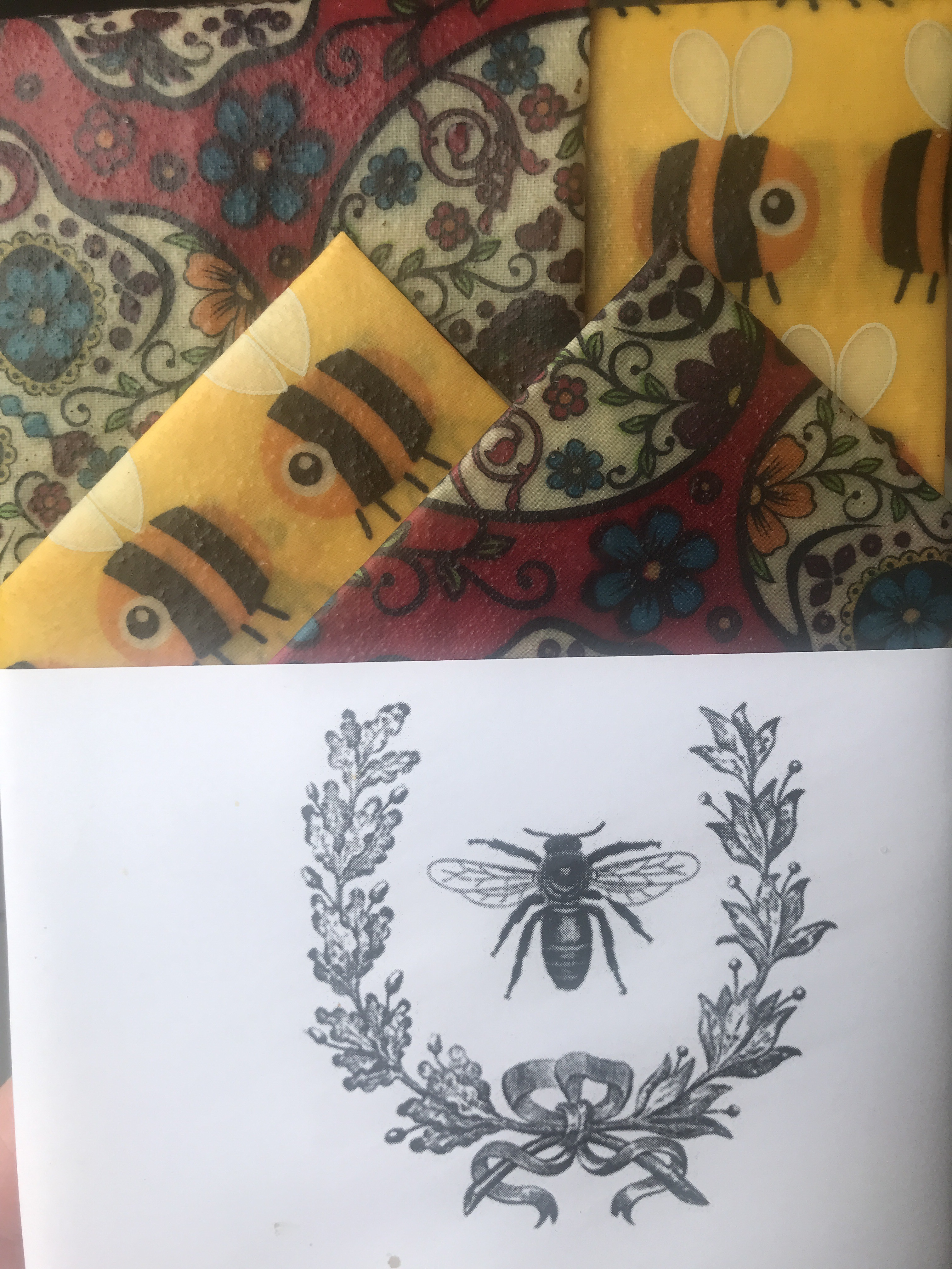 Starter Pack Reusable Beeswax Wraps Sugar skulls and Yellow Bees