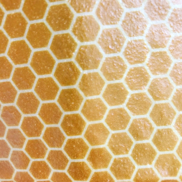 Reusable beeswax food wrap in honeycomb print
