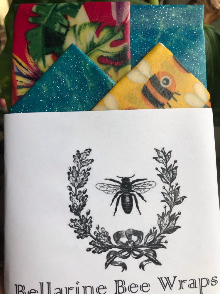 Pink Tropical Birds, Blue glitter and Yellow Bee print Starter Pack of Reusable Beeswax Food Wraps containing four wraps