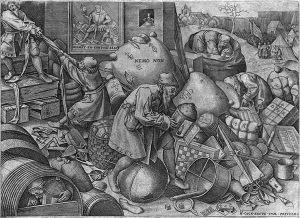 Engraved image from Bruegel of Everyman.