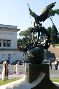 Pope Francis and Benedict bless the Saint Michael statue in the vatican this year