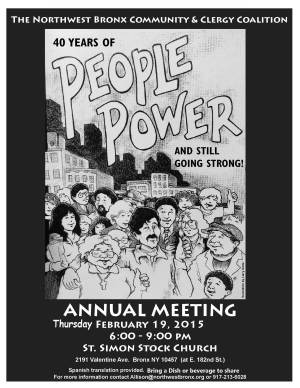 annual meeting poster (held in a Catholic Church)