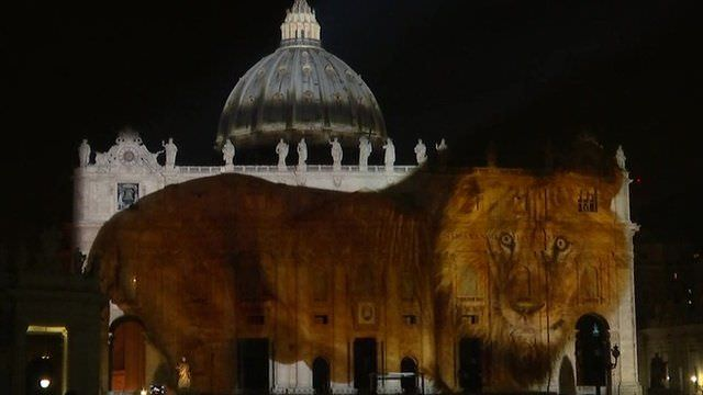 A BBC image of the nature show projected onto St. Peter at the Vatican