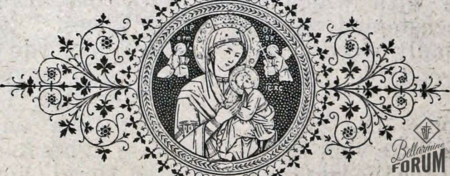 Image of the Blessed Mother inset in a circle with floral flourishes to each side. John B. Manos