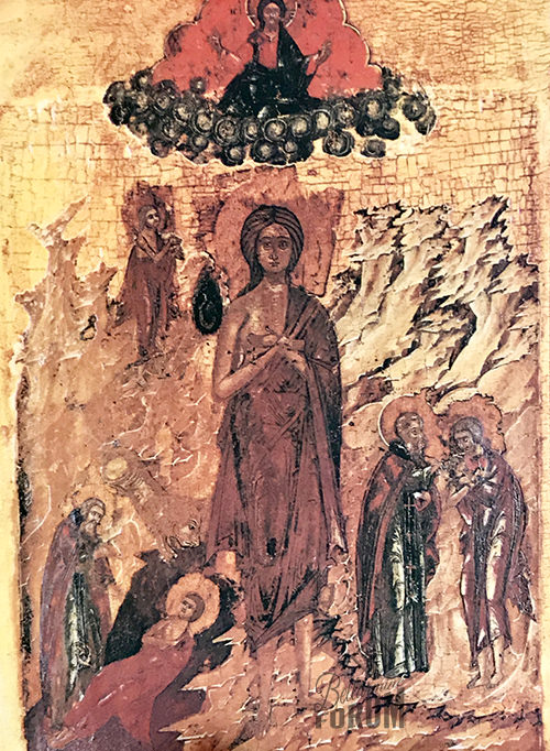 icon of St. Mary of Egypt. Above her is Our Lord in the heavens, but it appears that cabbages makes the clouds beneath Him. Scenes depict her life, including Zosimas's burial aided by the lion