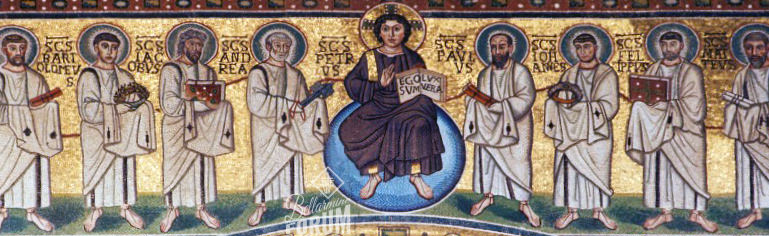 mosaic of Jesus with the apostles to each side, and each apostles holds an item, Peter holds a key, etc