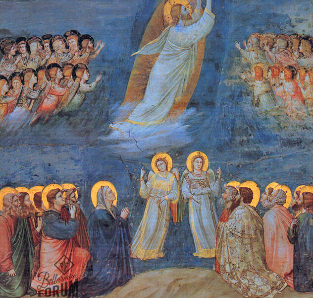 painting of Scrovegni showing Jesus ascending into Heaven, angels receiving Him, the apostles and the blessed mother Mary kneeling and watching, and two angels before them pointing upwards