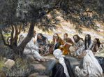 "Tissot's painting of Jesus's last visit with the Apostles, exhorting the apostles, titled ""The Parting Advice"""