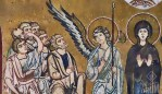 stylized mosaic of a scene of the ascension, showing Mary and an angel facing the apostles who are looking up