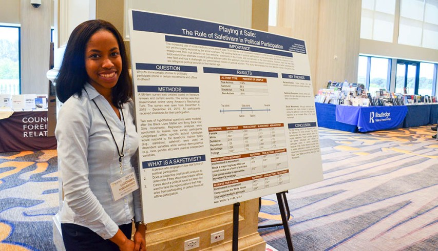 """Ugonma Nwankwo and her presentation, """"Playing It Safe: The Role of Safetivism in Political Participation"""""""
