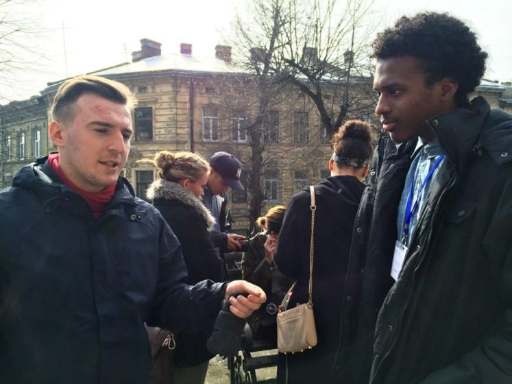 Cullen Caston and Ukrainian student