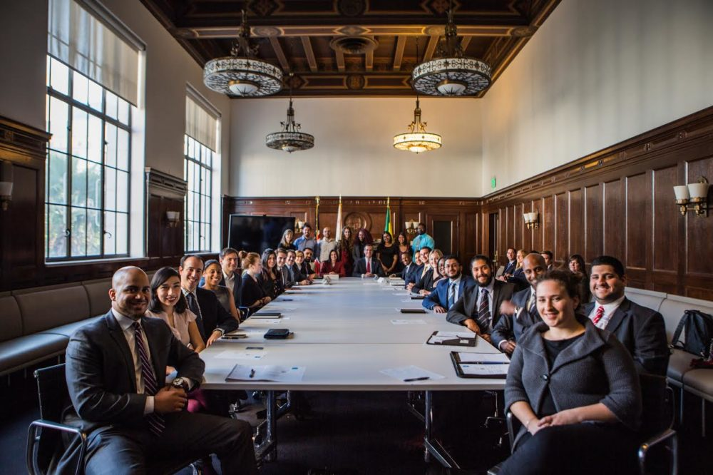 Group of students with Mayor Eric Garcetti