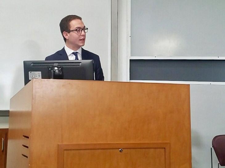 Student, Thomas Duncan, presenting at MSU