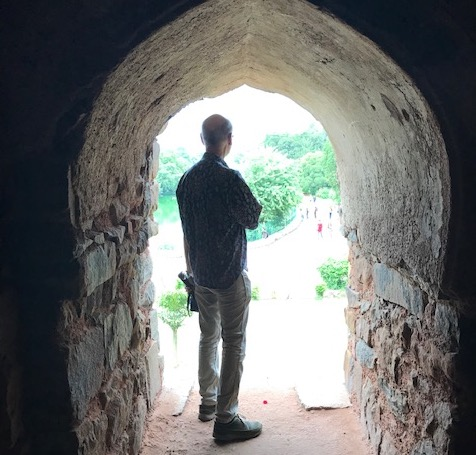 Chris in Archway at Hauz Khas U - Professor Christopher Key Chapple Receives Fulbright Award to India