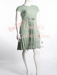 Pleated skirt dress, lime green.