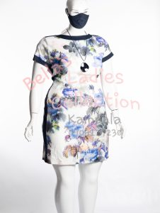 Size 22 ladies office dress, multi colored.