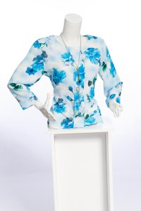 Ladies 100% Chiffon Top multi colored. Block pattern, teal. yellow, and blue.