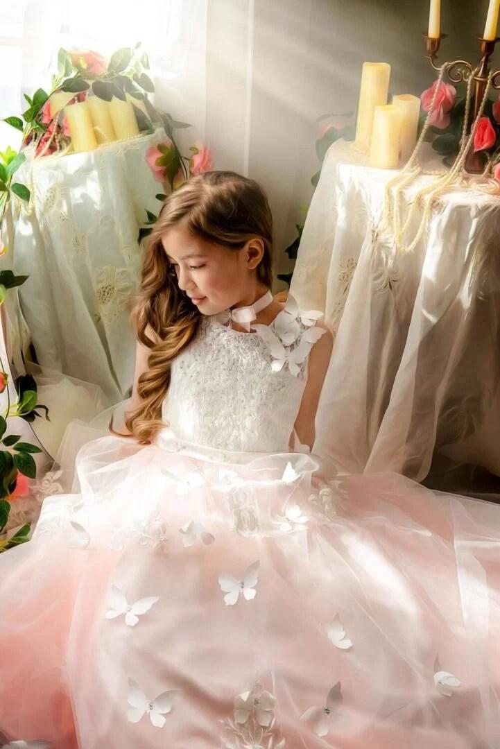 painterly children portrait of girl in vintage princess dress