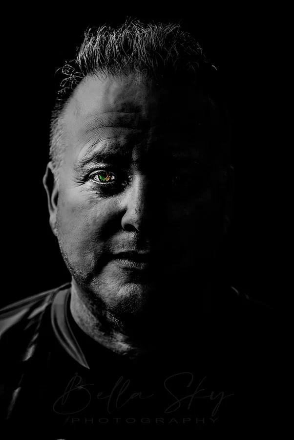 creative portrait man wiht multiple colored eyes