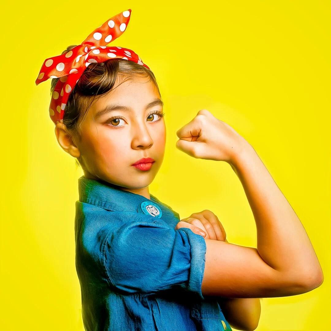 children portrait girl power we-can-do-it poster