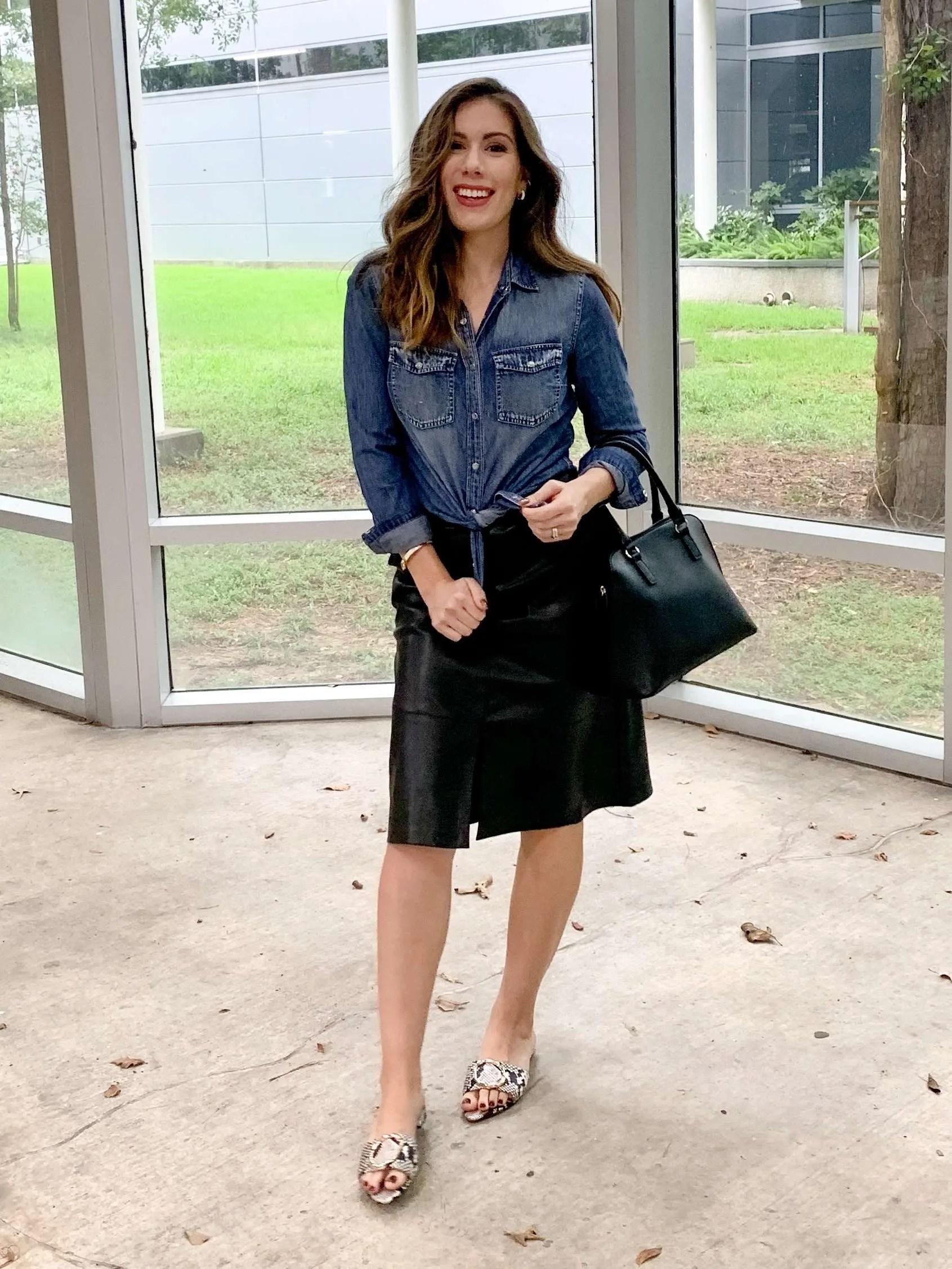 Houston Fashion Blogger Maria Munoz styling faux-leather skirt