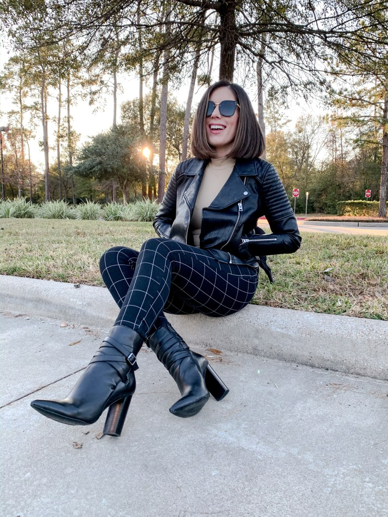 Houston style blogger Maria Munoz in faux leather jacket