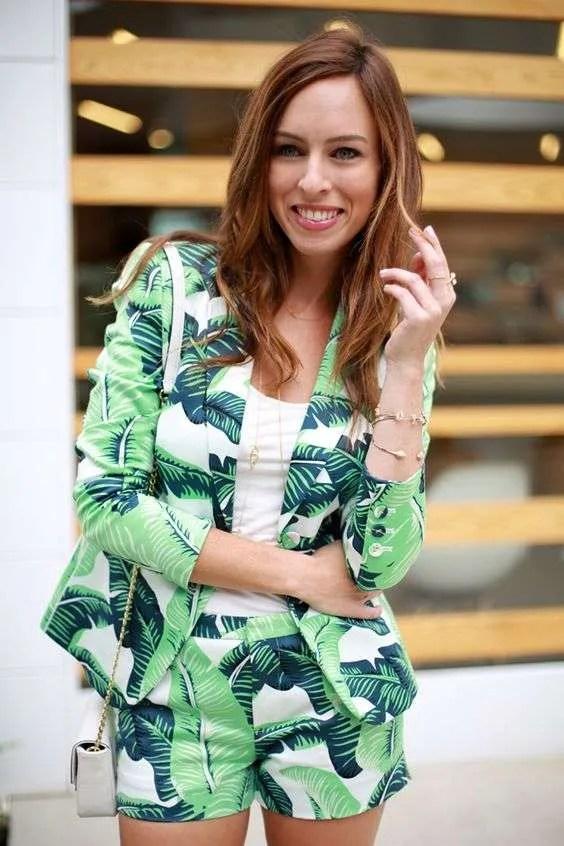 palm leaf short suit
