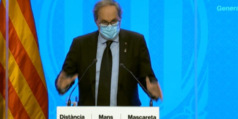 Quim Torra, durant la roda de premsa d'aquest dilluns   Generalitat de Catalunya