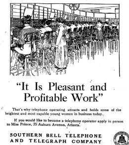 Ad calling for women to come work at the telephone exchange, asking them to apply in person at the Bell Building.
