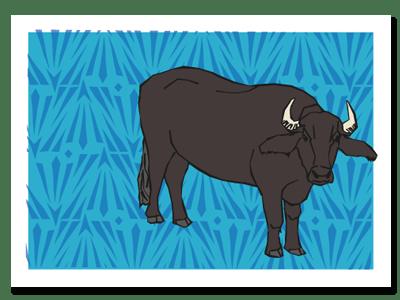 "Chinese zodiac sign postcard ""Ox"""